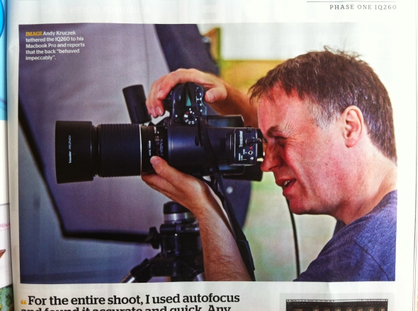 Andy Kruczek in action, and in Photo Professional magazine.