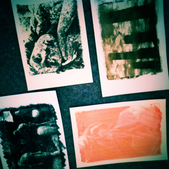 Drying gum prints during the recent workshop.