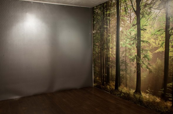 Studio 2's forest mural wall and aluminium chequer-plate wall